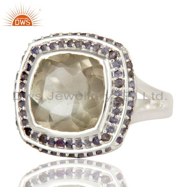 Exporter 925 Sterling Silver Green Amethyst and Iolite Gemstone Statement Ring