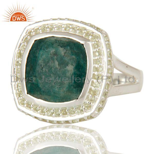 Exporter Emerald Green Corundum And Peridot Sterling Silver Cocktail Ring