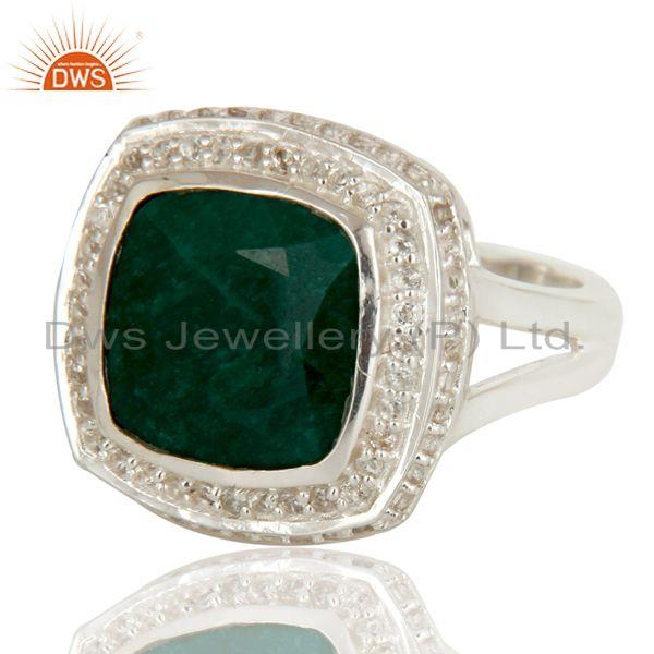 Exporter Emerald Green Corundum And White Topaz Sterling Silver Cocktail Ring