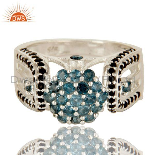 Exporter 925 Sterling Silver London Blue Topaz And Black Spinel Cluster Cocktail Ring