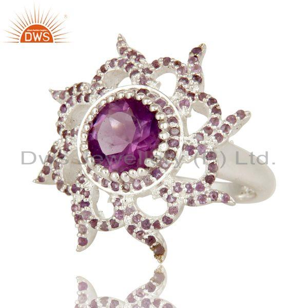 Exporter 925 Sterling Silver Natural Amethyst Gemstone Cocktail Ring Designer Jewelry