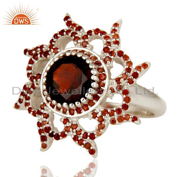 Exporter 925 Sterling Silver Natural Garnet Gemstone Cocktail Ring Designer Jewelry
