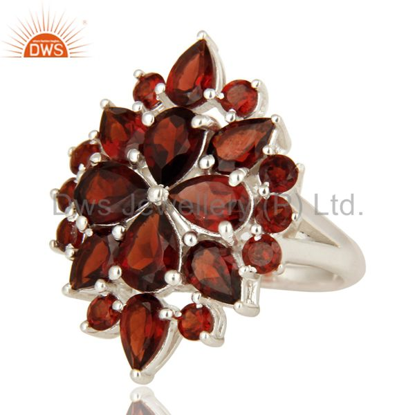 Exporter 925 Sterling Silver Natural Garnet Gemstone Cluster Statement Ring