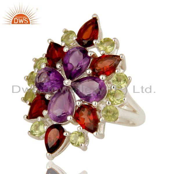 Exporter Natural Amethyst Garnet Peridot 925 Sterling Silver Ring Personalized Jewelry