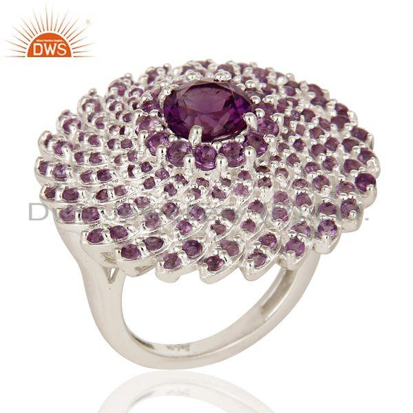 Exporter 925 Sterling Silver Amethyst Gemstone Round Cut Cluster Flower Cocktail Ring