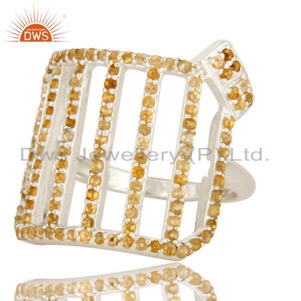 Exporter 925 Sterling Silver Cutout Dome Ring Studded With Citrine Gemstone