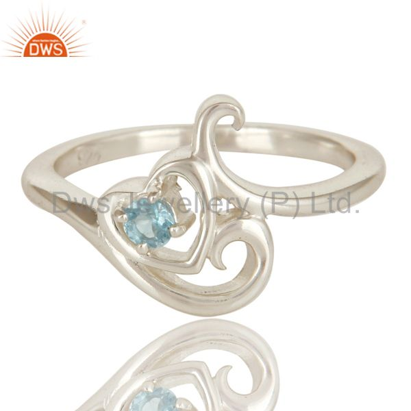 Exporter 925 Solid Sterling Silver Natural Blue Topaz Gemstone Designer Ring