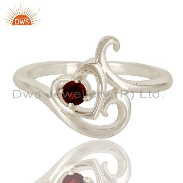 Exporter 925 Sterling Silver Natural Garnet Gemstone Heart Stacking Ring