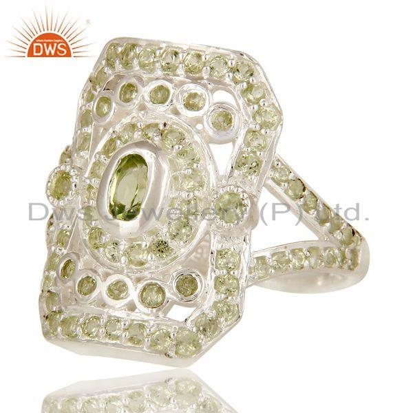Exporter Natural Peridot Gemstone Cluster 925 Sterling Silver Statement Ring