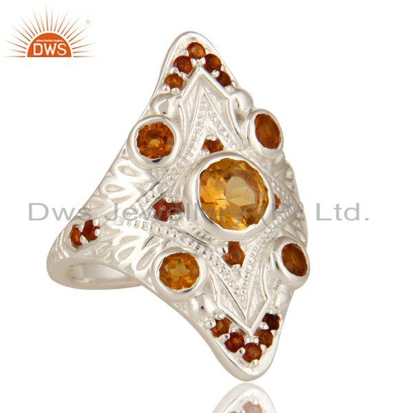 Exporter 925 Sterling Silver Natural Citrine Gemstone Statement Designer Ring