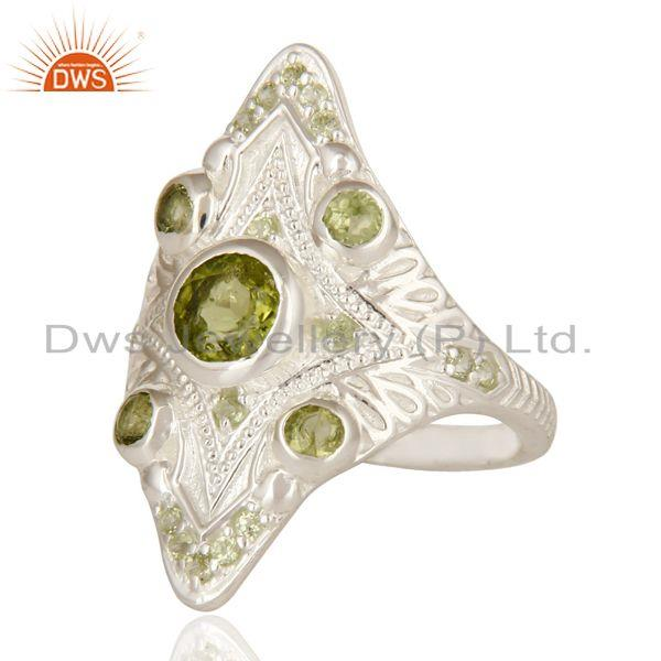 Exporter Designer Sterling Silver Peridot Gemstone Womens Statement Ring