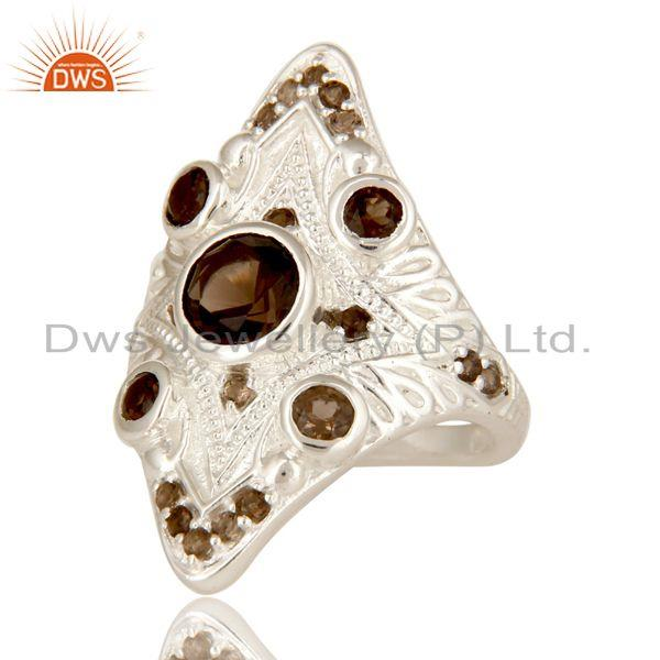 Exporter 925 Sterling Silver Natural Smoky Quartz Gemstone Statement Ring