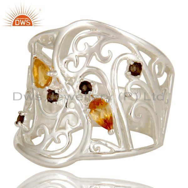 Exporter 925 Sterling Silver Smoky Quartz And Citrine Filigree Design Wide Band Ring