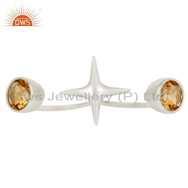Exporter 925 Sterling Silver Two Finger Star Knuckle Ring With Citrine Gemstone