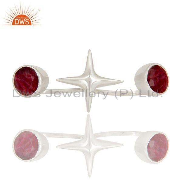 Exporter 925 Sterling Silver Ruby Gemstone Double Finger Star Ring