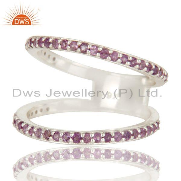 Exporter Natural Amethyst Gemstone 925 Sterling Silver Double Stacking Ring