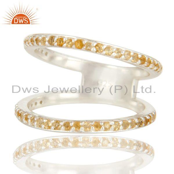 Exporter Natural Citrine Gemstone High Polish Sterling Silver Double Stacking Ring