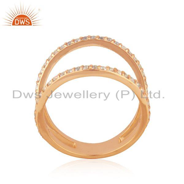 Exporter Designer Rose Gold Plated Silver White Topaz Ring Jewelry Manufacturer