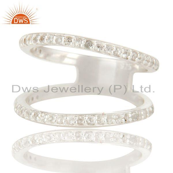 Exporter White Topaz Gemstone Sterling Silver Modern Design Cut Out  Double Band Ring
