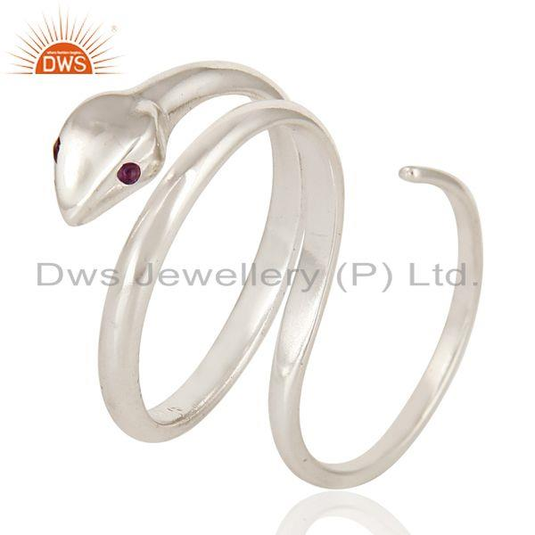 Exporter Amethyst Gemstone High Finished Sterling Silver Adjustable Two Finger Snake Ring