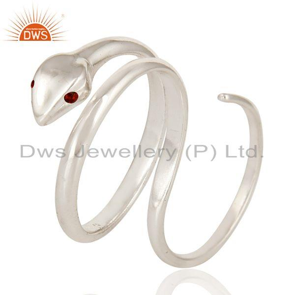 Exporter Garnet Gemstone High Polished Sterling Silver Two Finger Adjustable Snake Ring
