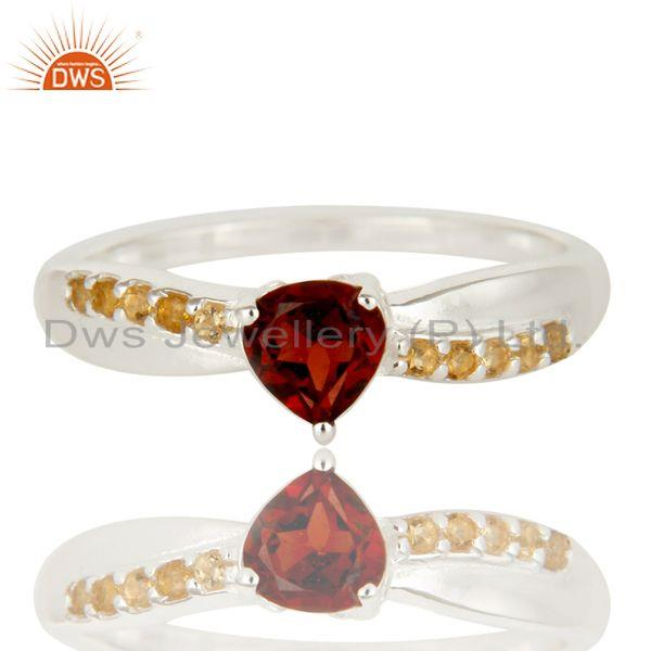 Exporter 925 Sterling Silver Garnet And Citrine Trillion Cut Halo Ring