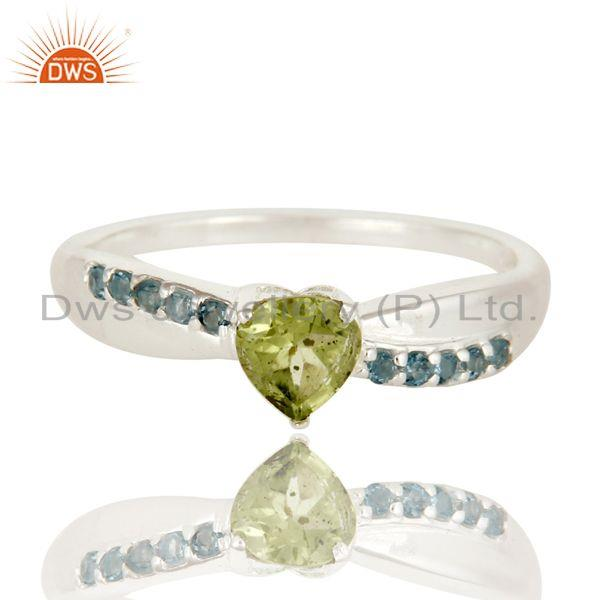 Exporter 925 Sterling Silver Blue Topaz And Peridot Gemstone Prong Set Halo Ring