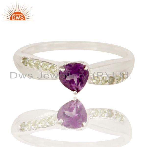 Exporter High Polish 925 Sterling Silver Amethyst And Peridot Halo Style Solitaire Ring