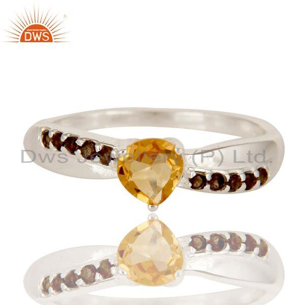 Exporter 925 Sterling Silver Heart Cut Citrine And Smoky Quartz Prong Set Stack Ring