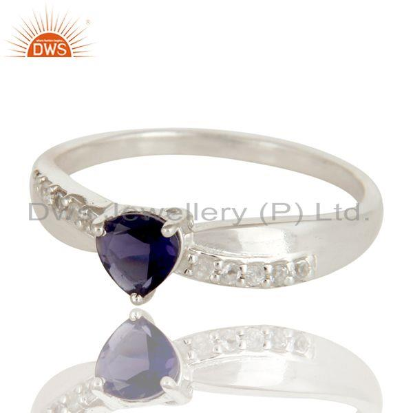 Exporter 925 Sterling Silver Heart Cut Iolite And White Topaz Gemstone Halo Ring