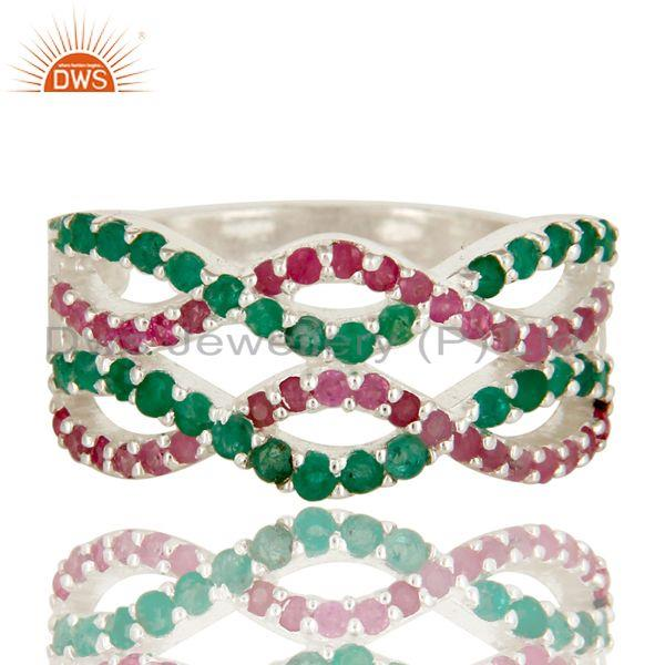 Exporter 925 Sterling Silver Natural Emerald And Ruby Gemstone Cluster Infinity Ring
