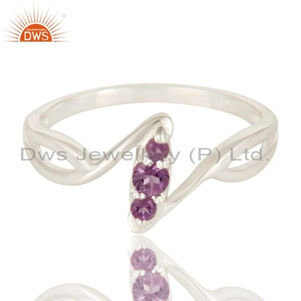 Exporter 925 Sterling Silver Amethyst Gemstone Statement Stacking Ring
