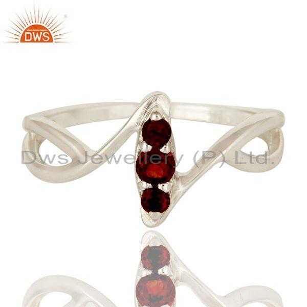 Exporter 925 Sterling Silver Garnet Gemstone Statement Split Shank Stack Ring