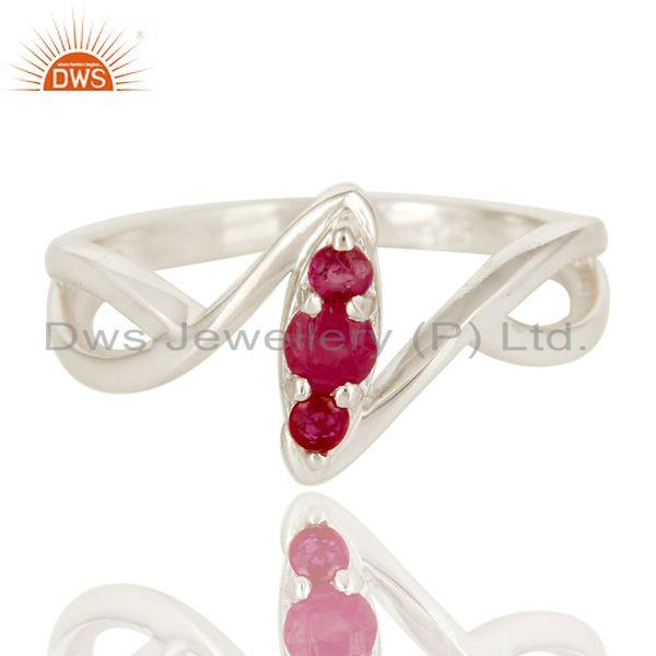 Exporter 925 Sterling Silver Natural Ruby FIne Gemstone Statement Ring Jewelry
