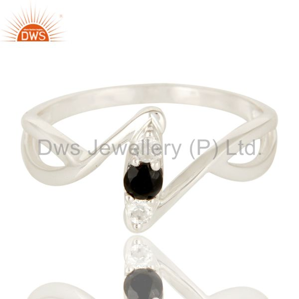 Exporter Black Onyx And White Topaz Sterling Silver Split Shank Statement Ring