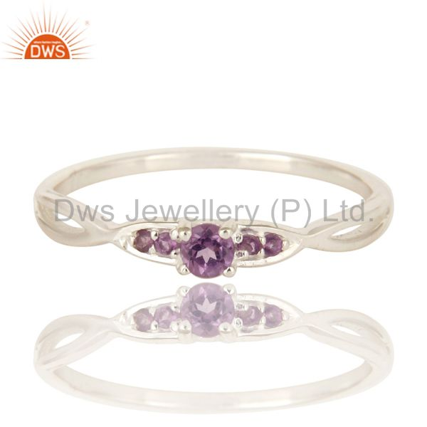 Exporter Natural Amethyst Gemstone 925 Sterling Silver Genuine Stacking Ring