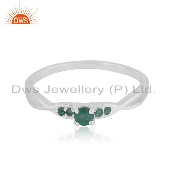 Exporter Natural Emerald Gemstone Sterling Silver Split Shank Stacking Ring