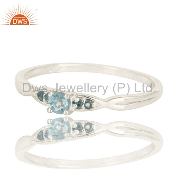Exporter 925 Sterling Silver Natural Blue TOpaz Gemstone Cluster Ring Jewelry