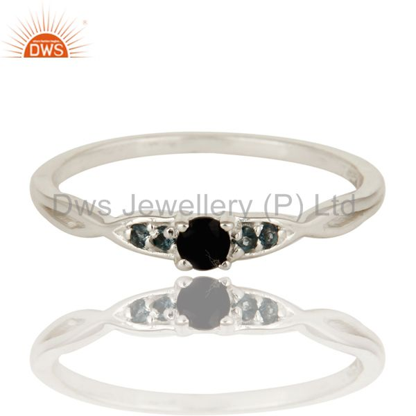 Exporter Black Onyx And White Topaz Gemstone Sterling Silver Stacking Ring