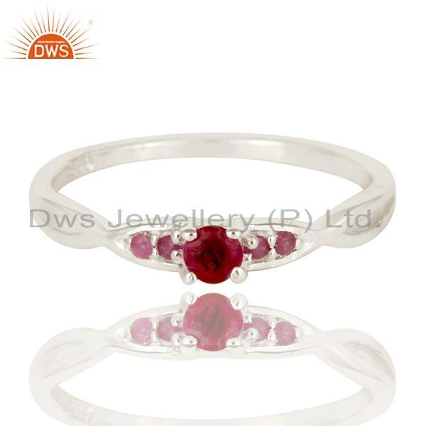 Exporter 925 Sterling Silver Natural Ruby Gemstone Stacking Ring