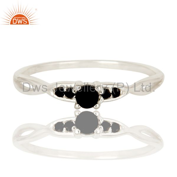 Exporter 925 Sterling Silver Black Onyx Round Cut Gemstone Stacking Ring