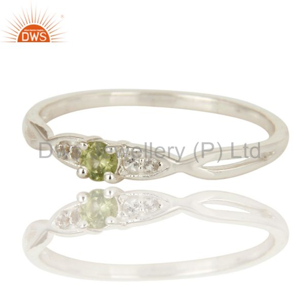Exporter Natural Peridot And White Topaz Sterling Silver Cluster Gemstone Ring