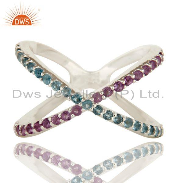 Exporter 925 Sterling Silver Criss-Cross X Ring With Amethyst And Blue Topaz Gemstone