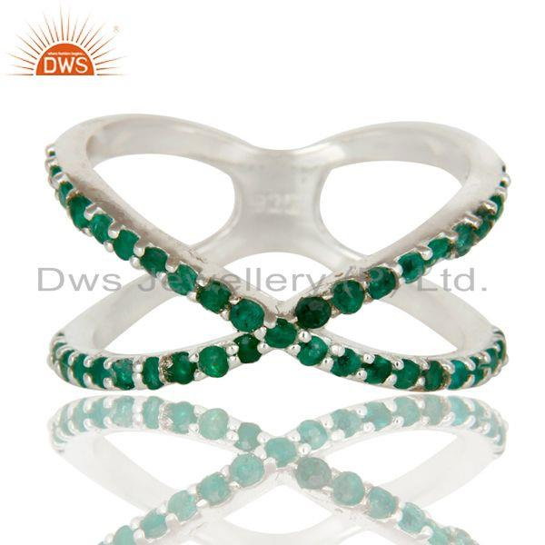 Exporter 925 Sterling Silver Criss Cross X Ring With Emerald Gemstone