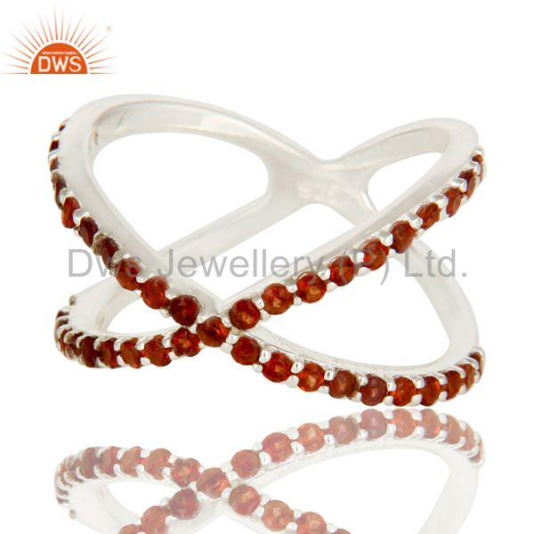 Exporter 925 Sterling Silver Garnet Gemstone Criss Cross Knuckle X Ring