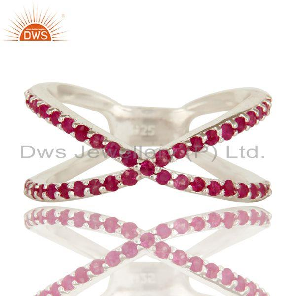 Exporter 925 Sterling Silver Natural Ruby Gemstone Cluster Criss-Cross Knuckle X Ring