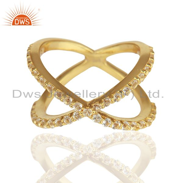 Exporter Criss Cross Gold Plated 925 Silver White Topaz X Ring Manufacturer