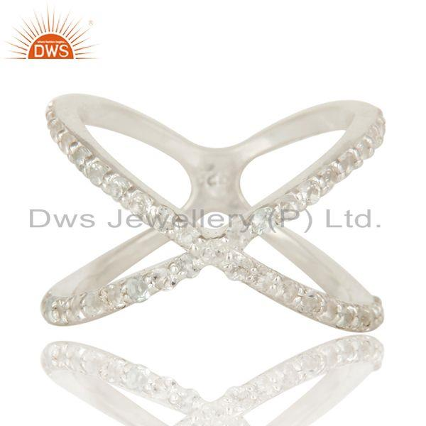 Exporter High Finish Sterling Silver White Topaz Gemstone Criss Cross X Ring