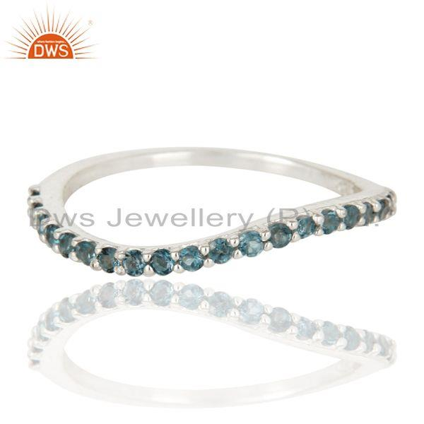 Exporter Natural Blue Topaz 925 Sterling Silver Engagement Stackable Ring