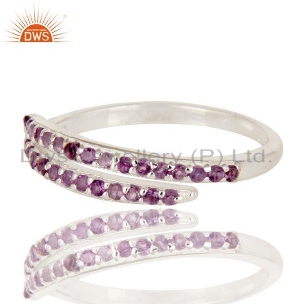 Exporter 925 Sterling Silver Adjustable Stack Band Wedding Ring With Amethyst Gemstone